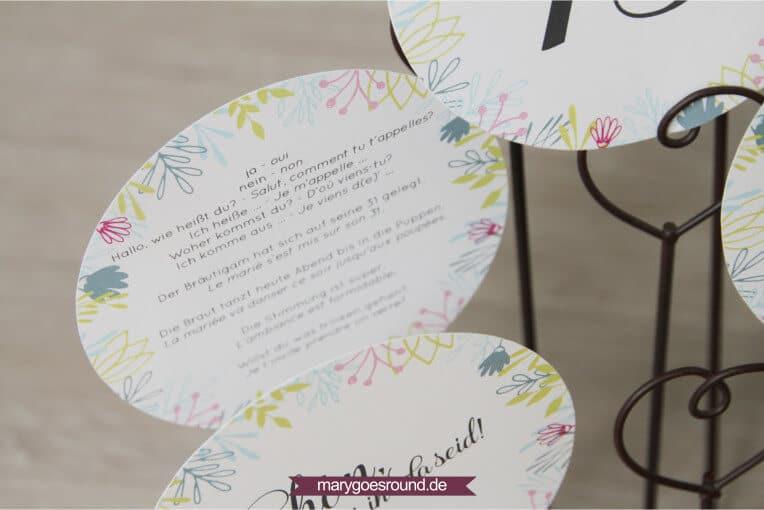 Hochzeitseinladung zweisprachig, Tipps für mehrsprachige Hochzeitspapeterie - Gäste-Wörterbuch | marygoesround.de