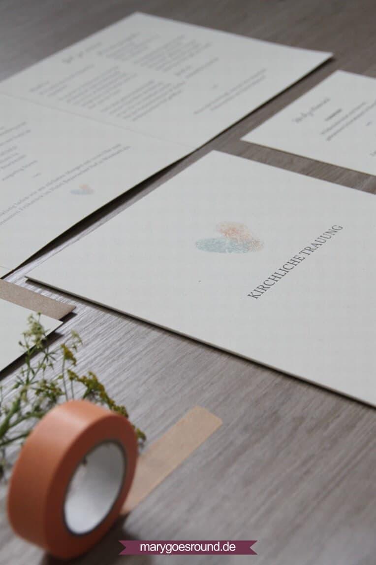Hochzeitsset: Fingerabdrücke, Birkenholzpapier, Kraftpapier (Kirchenheft) | marygoesround.de