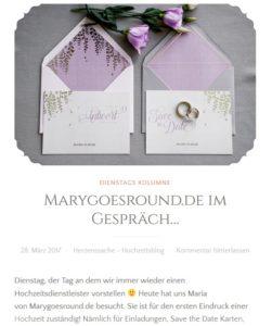 Herzenssache Hochzeitsblog, Beitrag Dienstags-Kolumne, 28.03.2017 (https://herzenssacheonline.com/2017/03/28/marygoesround-im-gespraech/)