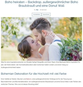 "weddingbible Hochzeitsblog, Beitrag Hochzeitsinspiration ""Boho Backyard Wedding"", 18.04.2017 (https://www.weddingbible.de/boho-heiraten-donut-wall/)"