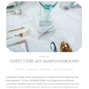 """Herzenssache, Hochzeitsblog, Beitrag Hochzeitsinspiration """"Zarte Liebe"""", 25.07.2017 (https://herzenssacheonline.com/2017/07/25/zarte-liebe-mit-marygoesround/)"""