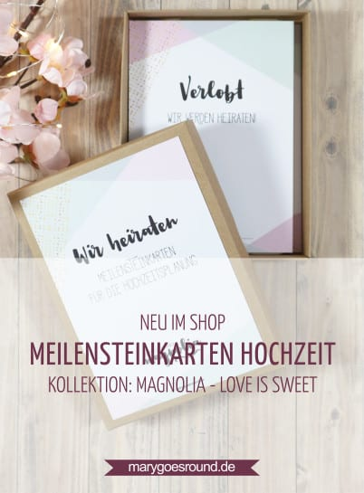 "Meilensteinkarten für die Hochzeitsplanung, Kollektion ""Magnolia - Love is Sweet"" 