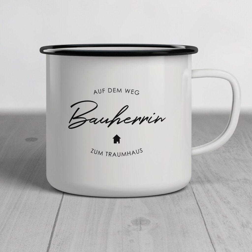 "Emailletasse ""Bauherrin"""