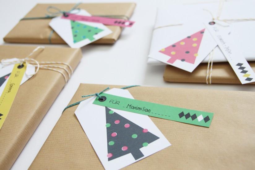 Moderne Geschenkanhänger für Weihnachten zum selber ausdrucken (kostenlos)
