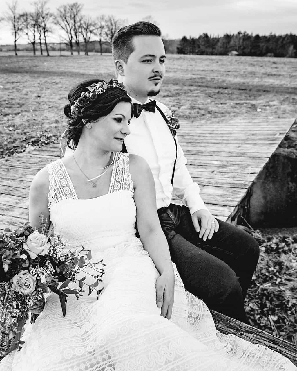 Hochzeitsinspiration Red Velvet, Brautpaar s/w | marygoesround.de