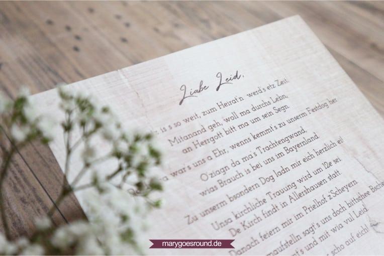 Hochzeitseinladung auf Bayerisch | marygoesround.de