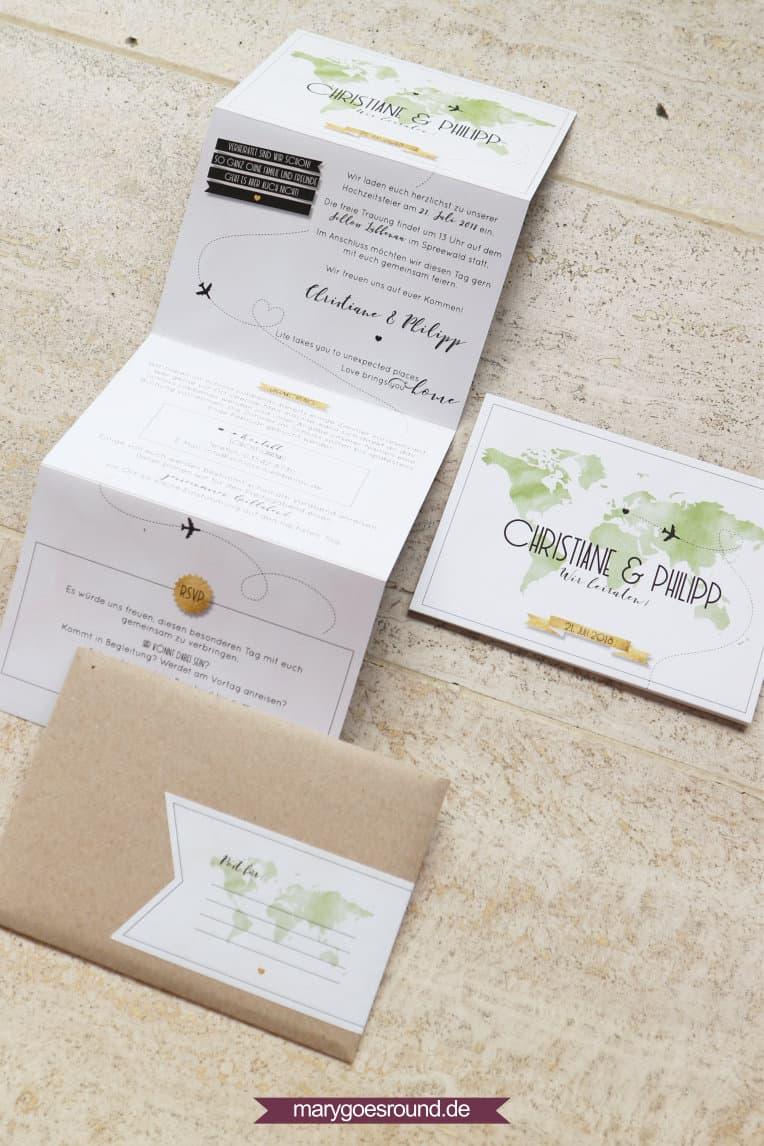 Hochzeitseinladung mit Weltkarte, Weltenbummler, Leporellokarte | marygoesround.de