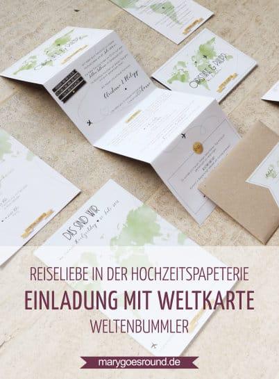 Hochzeitseinladung mit Weltkarte, Hochzeitspapeterie für Weltenbummler | marygoesround.de
