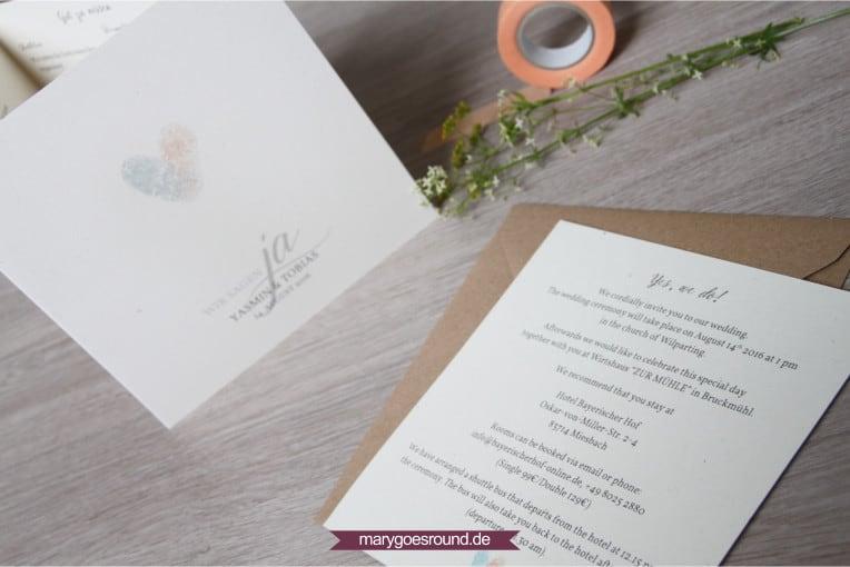 Hochzeitseinladung mit englischem Einleger | marygoesround.de