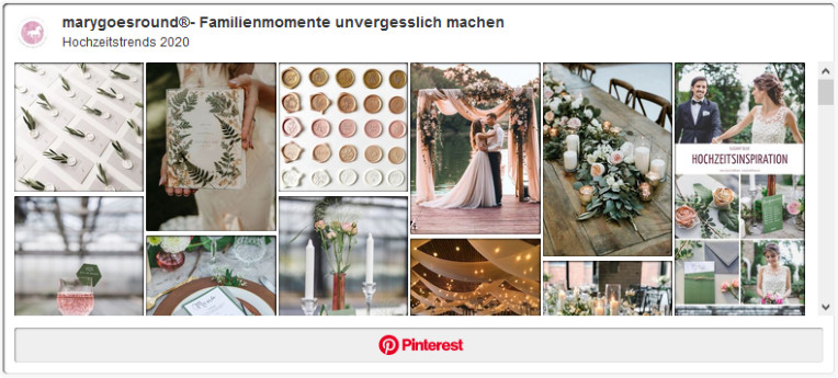 Pinterest-Board: Hochzeitstrends 2020 | marygoesround®
