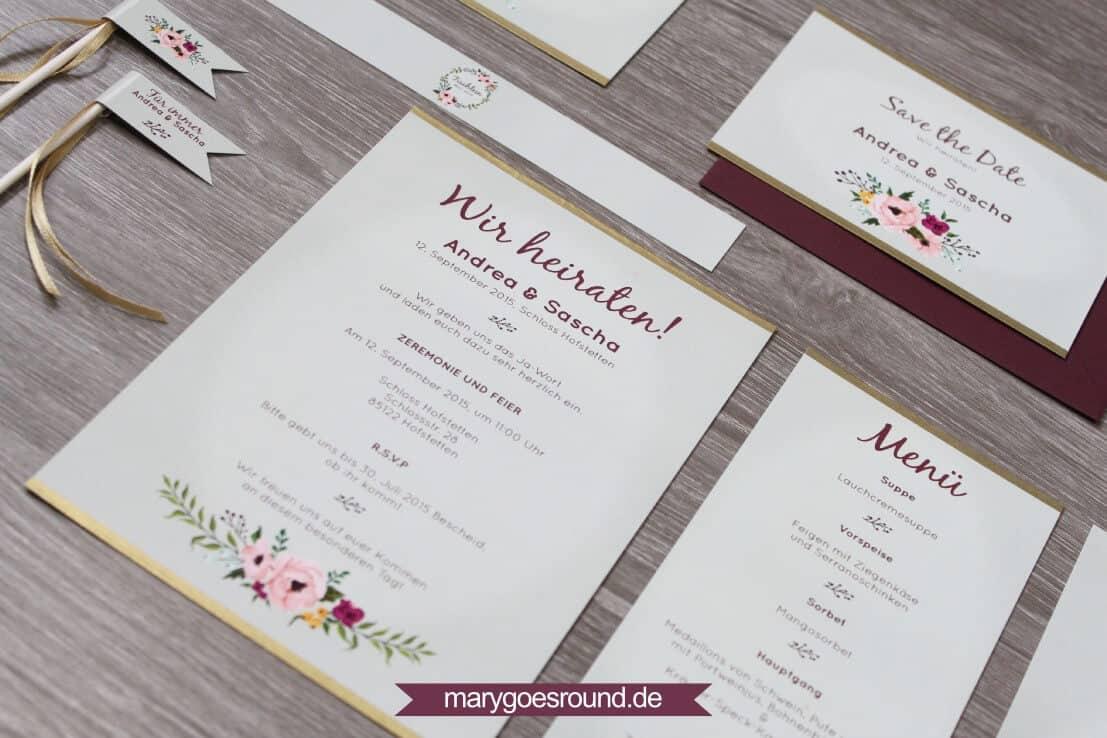 Referenzen: Hochzeitspapeterie (Slider) | marygoesround.de