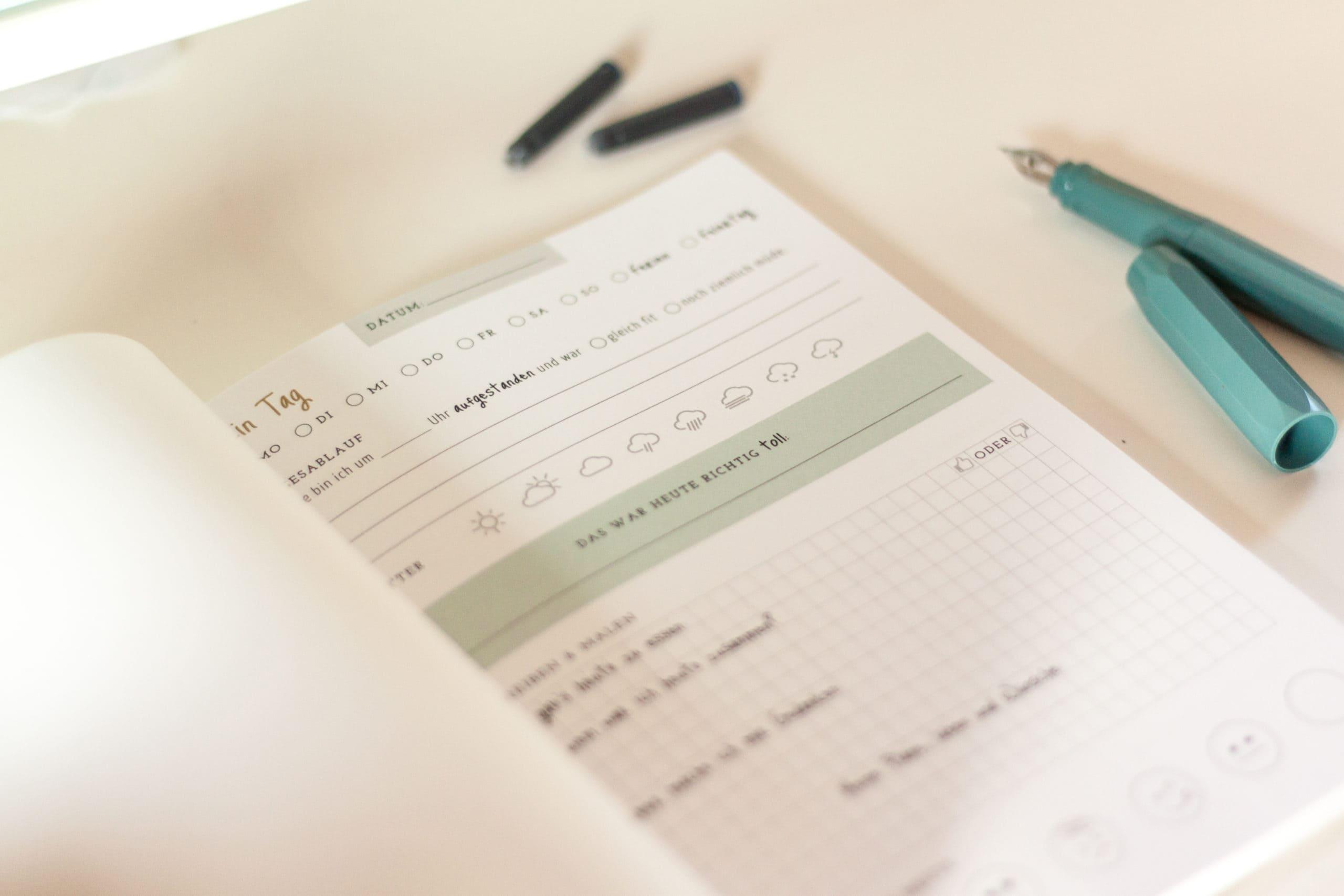 Ausfüllseiten im Tagebuch erleichtern Kindern das Schreiben